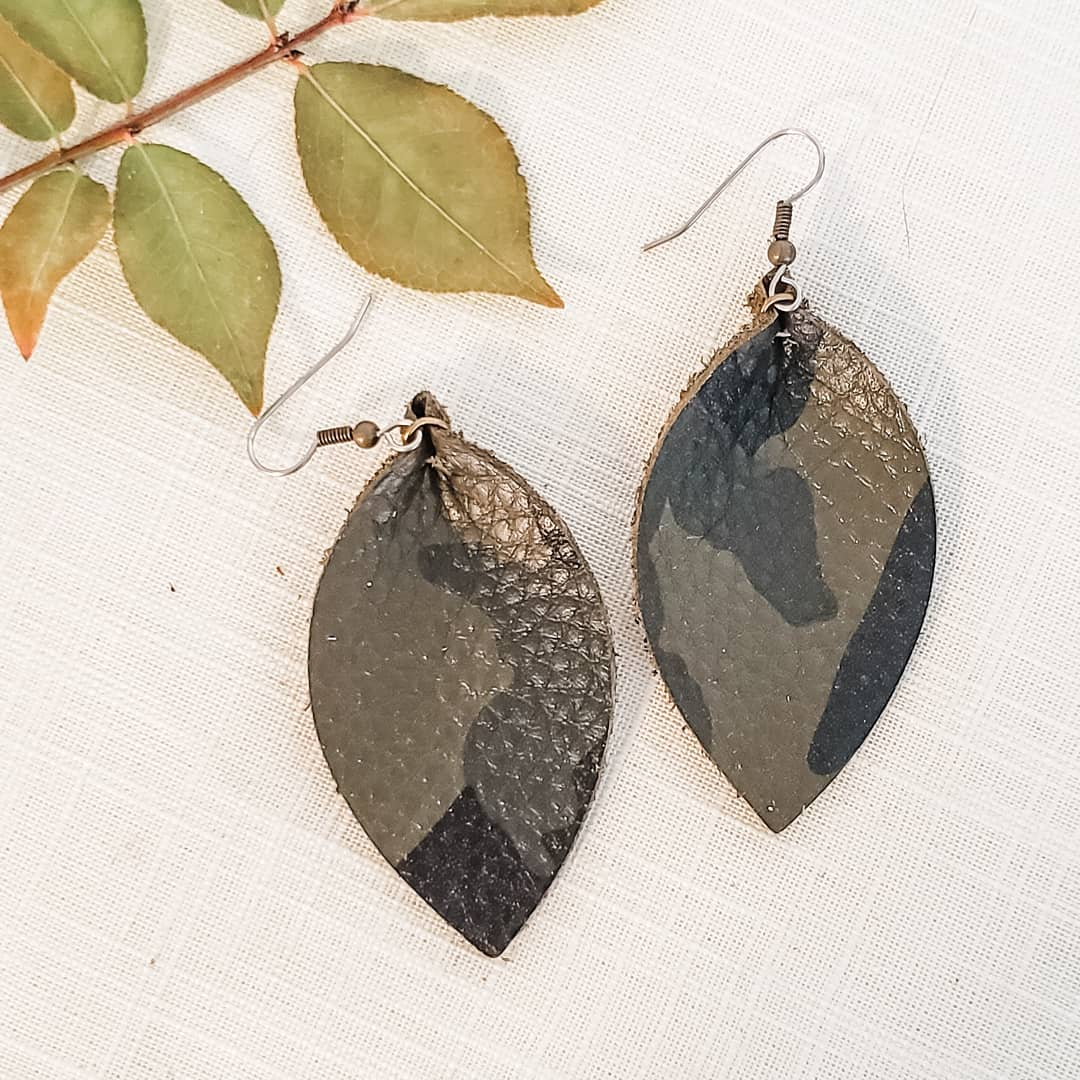 "Genuine Leather Leaf Earrings / Green Camo / Boho Style / Medium / 2.5""x 1.25"""