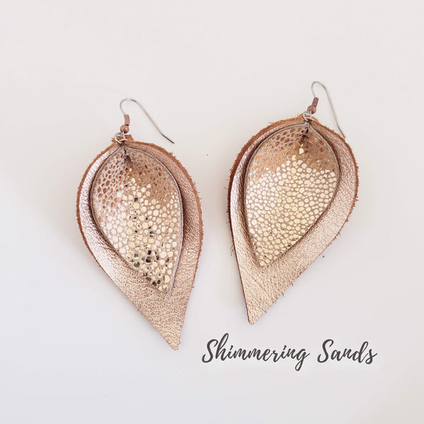 "Shimmer Collection /  Layered Leather Petal Earrings / Lrg / 3.25 x 2"" /Hypoallergenic"