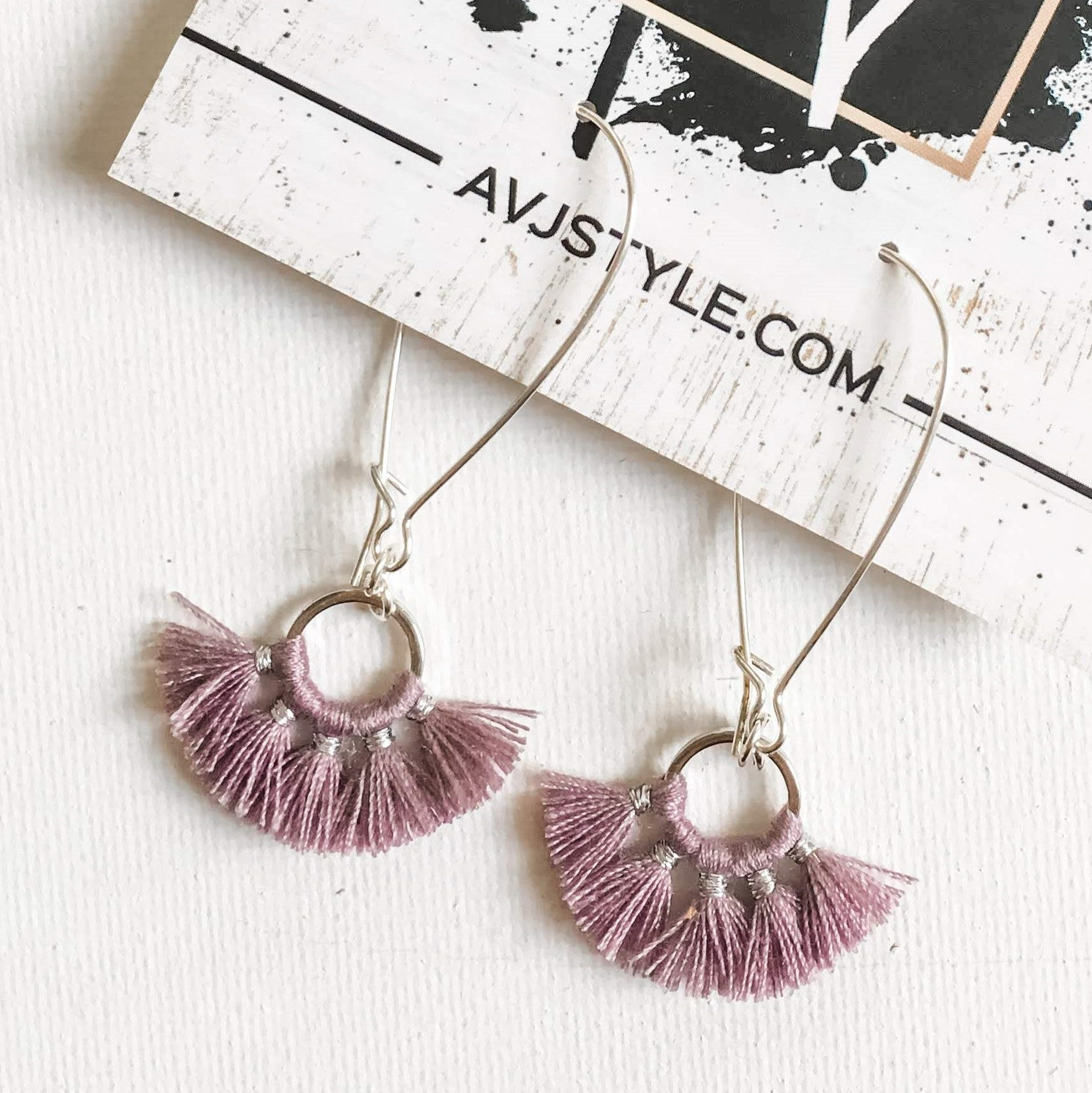 Small Hoop Fan Tassel Earrings, Lilac Earrings, Tassel Jewelry, 2.25 .75""