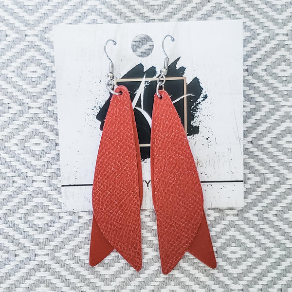"Leather Earrings / Frosted Chili Pepper / Pixie Style / Dragonfly Fairy Wings / 3""x .75"""