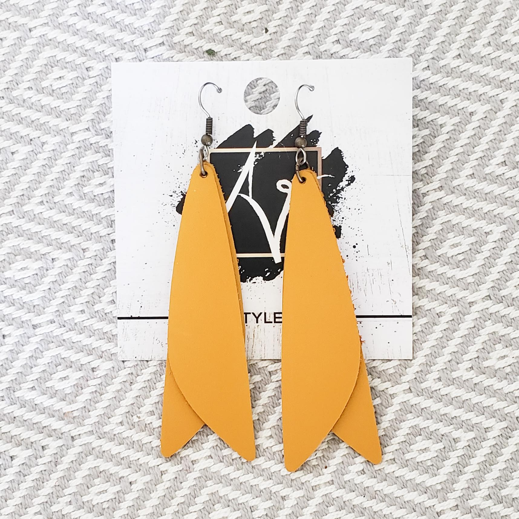 "Leather Earrings / Goldenrod Yellow / Pixie Style / Dragonfly Wings / Fairy Wings / 3""x .75"""