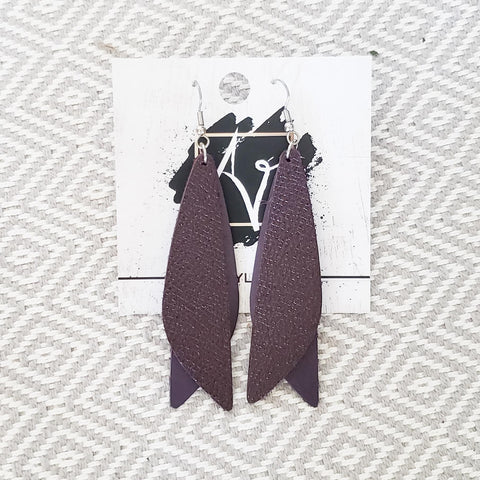 "Leather Earrings / Eggplant / Pixie Style / Dragonfly Wings / Fairy Wings / 3""x .75"""