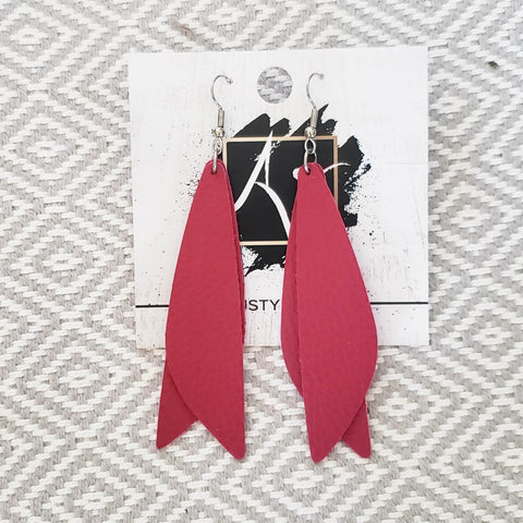 "Leather Earrings / Raspberry / Pixie Style / Dragonfly Wings / Fairy Wings / 3""x .75"""