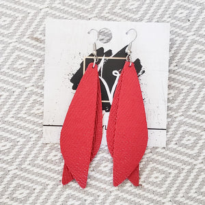 "Leather Earrings / Cherry Red / Pixie Style / Dragonfly Wings / Fairy Wings / 3""x .75"""