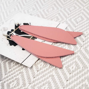 "Leather Earrings / Dusty Rose / Pixie Style / Dragonfly Wings / Fairy Wings / 3""x .75"""