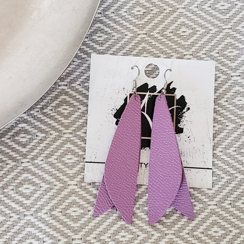 "Leather Earrings / Lilac Purple / Pixie Style / Dragonfly Wings / Fairy Wings / 3""x .75"""