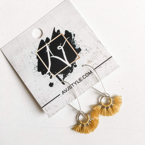 Small Hoop Fan Tassel Earrings, Sunflower Yellow Earrings, 2.25 x .75""