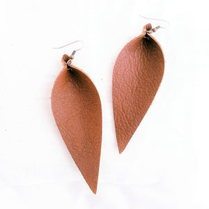 Genuine Leather Earrings / Brown / Long Leaf Earrings / 3.5 x 1.25""