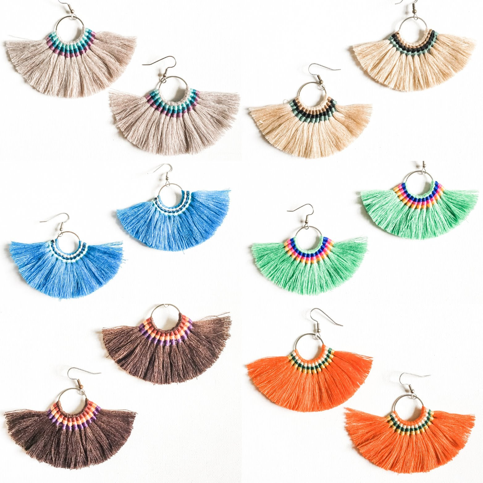 Large Hoop Fan Tassel Earrings, Choice of Color or Buy as Set, 2 x 3.5""
