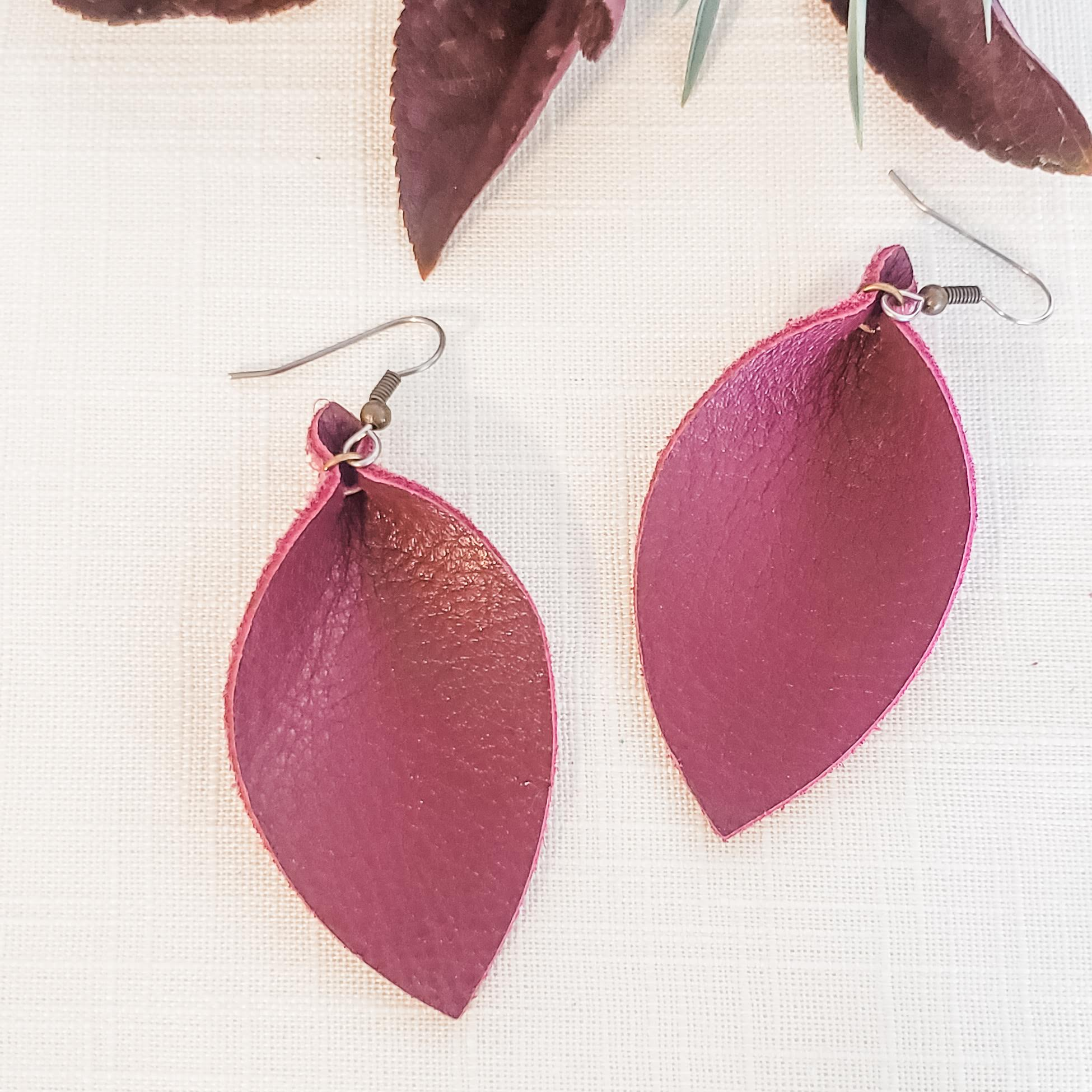 "Genuine Leather Leaf Earrings / Berry / Boho Style / Burgundy Earrings /  Medium / 2.5""x 1.25"""