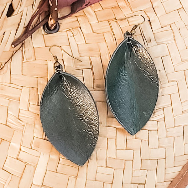 "Genuine Leather Leaf Earrings / Forest Green / Boho Style / Medium / 2.5""x 1.25"""
