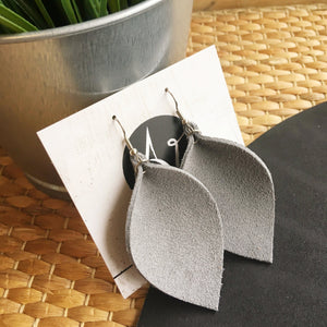 Grey Suede Leather Leaf Earrings / Genuine Suede / Joanna Gaines / Statement Earrings