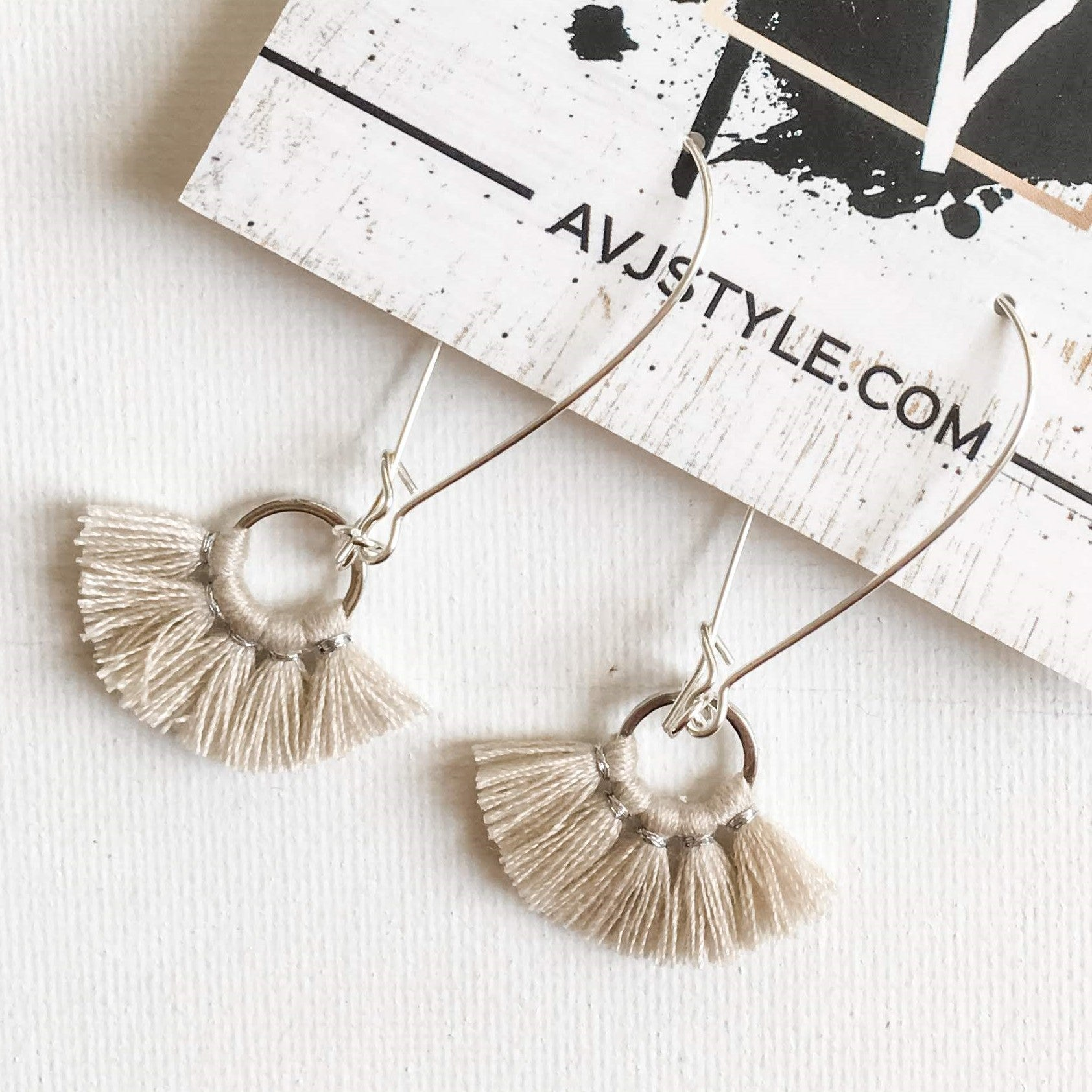 Small Fan Tassel Earrings, Natural White Earrings, Tassel Jewelry, 2.25 x .75""