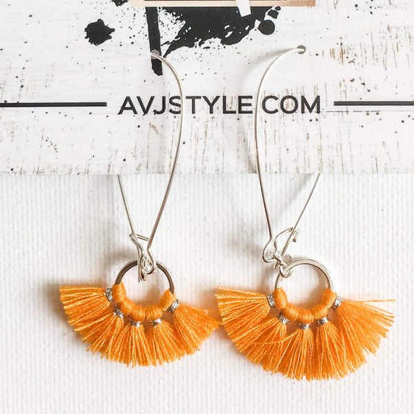 Small Hoop Fan Tassel Earrings, Orange Earrings, Tassel Jewelry, 2.25 x .75""