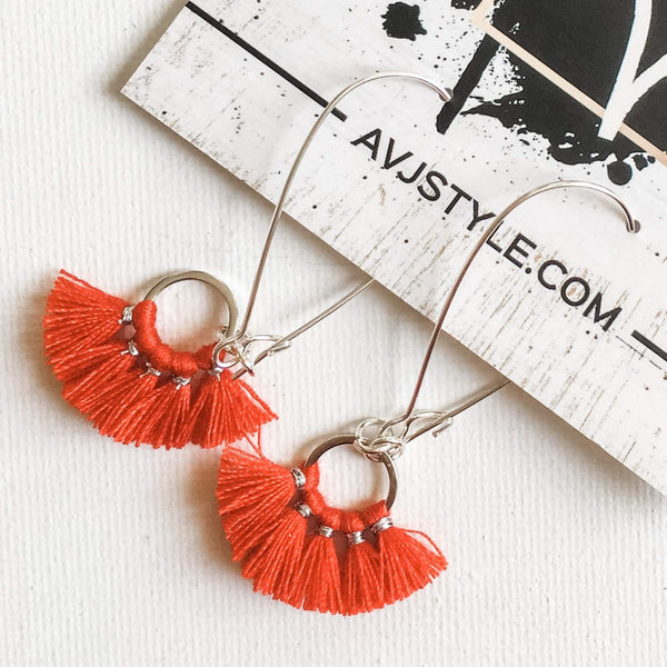 Small Hoop Fan Tassel Earrings, Red Earrings, Tassel Jewelry, 2.25 x .75""