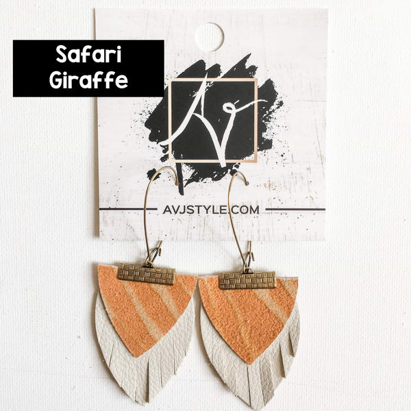 Layered Leather Earrings / Newport Beach Collection / Boho Fringe Earrings / 3 x 1.5""
