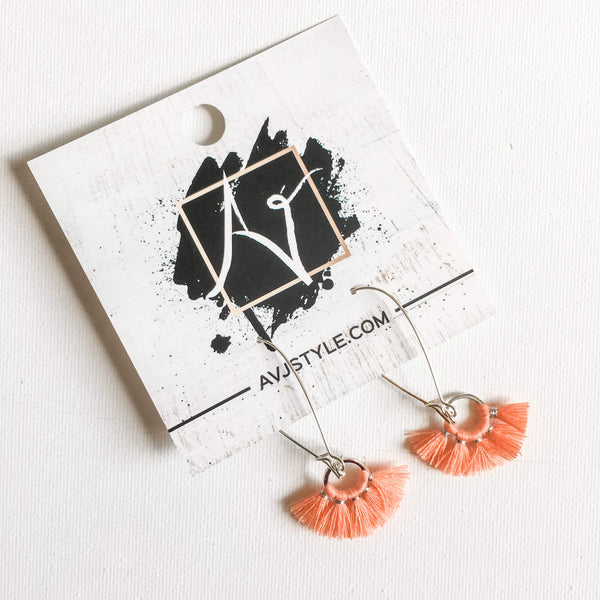 Small Hoop Fan Tassel Earrings, Salmon Earrings, Tassel Jewelry, 2.25 x .75""