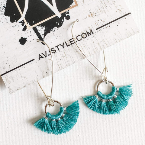 Small Hoop Fan Tassel Earrings, Teal Earrings, Tassel Jewelry, 2.25 x .75""