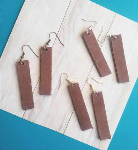 Brown Leather Earrings / Bar Style / Medium / FREE SHIPPING