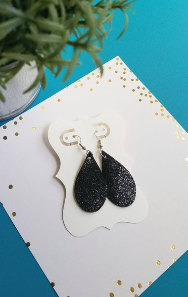 "Black Sparkle / Leather Teardrop Earrings / Small / 1.75 x 1"" / FREE SHIPPING"