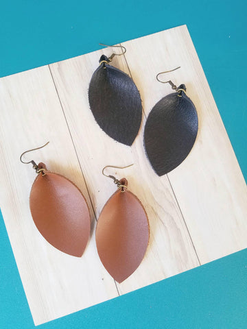 Black or Brown / Leather Earrings / Leaf Style / Medium / FREE SHIPPING