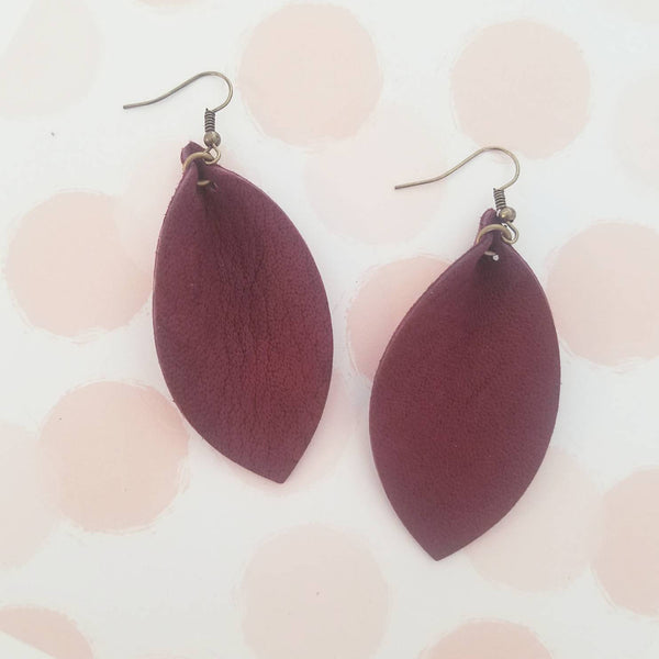 Rustic Berry Leather Earrings / Joanna Gaines Magnolia / Fixer Upper / Leaf Earrings