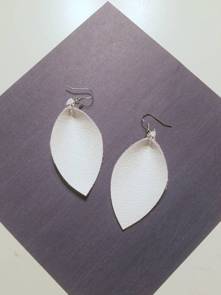 Bright White / Genuine Leather Earrings / Leaf Style / Medium / FREE SHIPPING