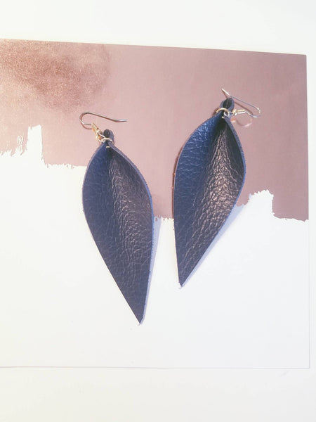 "Navy Blue / Leather Leaf Earrings / Large / 3.5 x 1.25"" / Hypoallergenic / FREE SHIPPING"