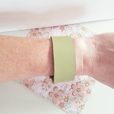 "Lime Green / Leather Cuff Bracelet / Adjustable Snap Closure / 1""x 9"" / FREE SHIPPING"