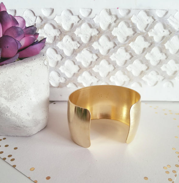 "Metallic Cuff Bracelet / Raw Brass / Adjustable / 1.5"" Wide / FREE SHIPPING"