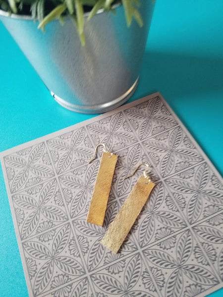 "Matte Metallic Gold / Leather Bar Earrings / Small / 2 x .5"" / Hypoallergenic / FREE SHIPPING"