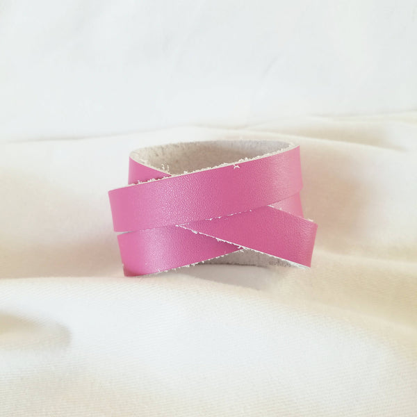"Raspberry / Leather Wrap Bracelet / Adjustable Snap Closure / .5 x 24"" / FREE SHIPPING"