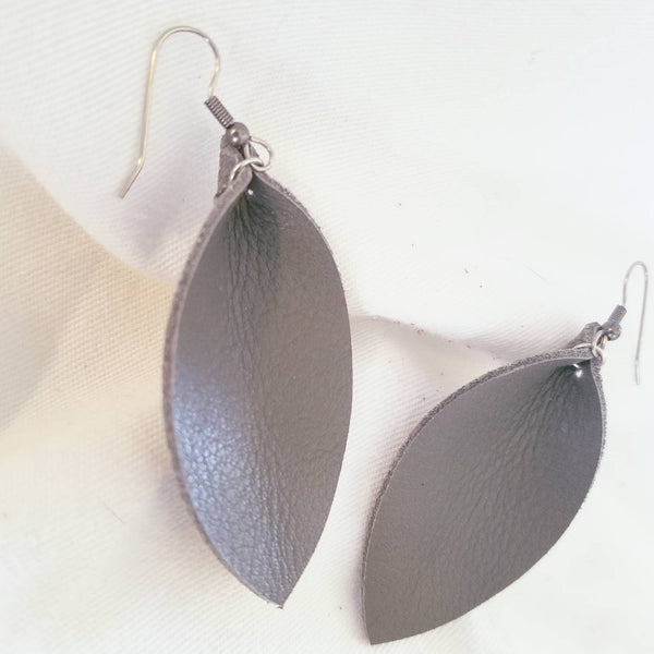"Granite / Leather Leaf Earrings / Medium / 2.5 x 1.25"" / FREE SHIPPING"