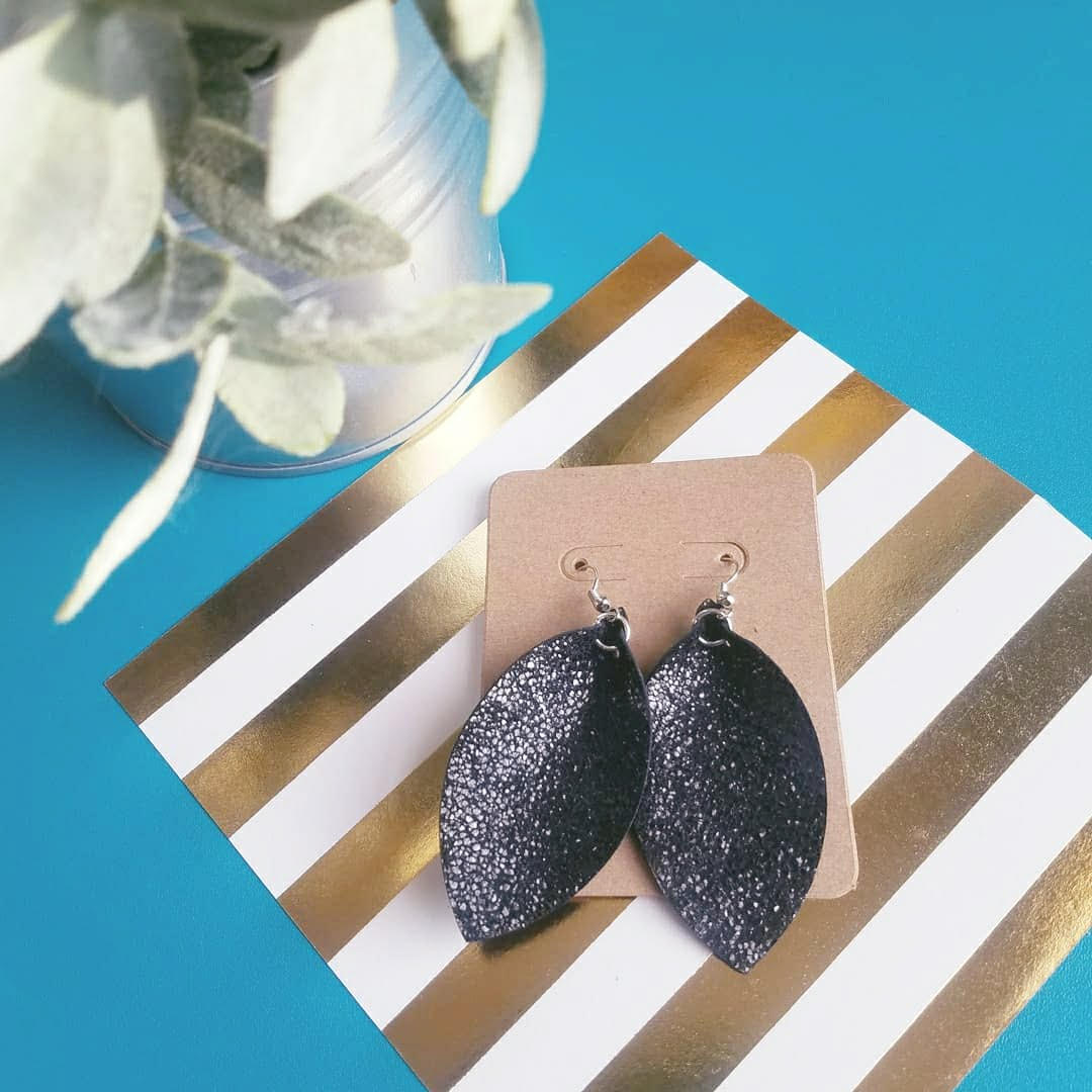 Black Sparkle / Leather Earrings / Leaf Style / Medium / FREE SHIPPING