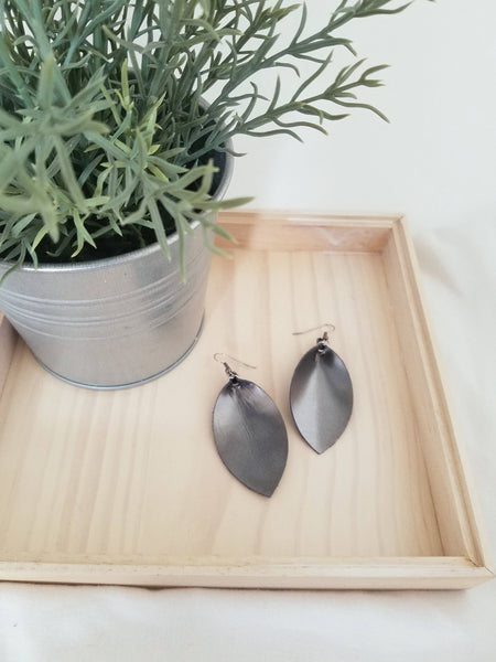 "Metallic Gunmetal / Leather Leaf Earrings / Medium / 2.5 x 1.25"" / Hypoallergenic / FREE SHIPPING"