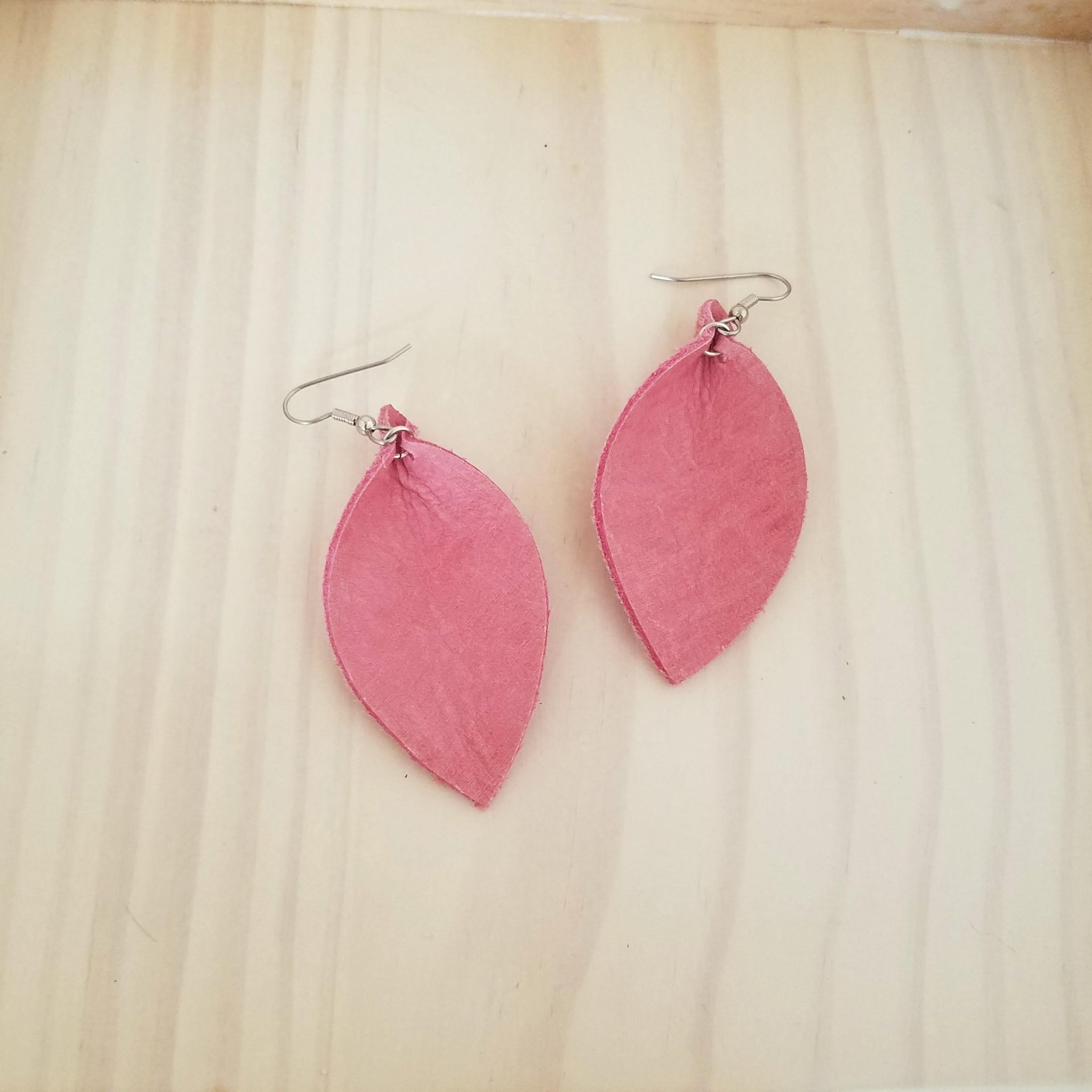 "Pink Flamingo / Leather Leaf Earrings / Medium / 2.5 x 1.25"" / Hypoallergenic / FREE SHIPPING"