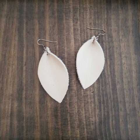 "Pearl / Leather Leaf Earrings / Medium / 2.5 x 1.25"" / Hypoallergenic / FREE SHIPPING"