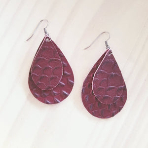 "Deep Red Serpent / Leather Teardrop Earrings / Medium / 2.25 x 1.5"" / Hypoallergenic"