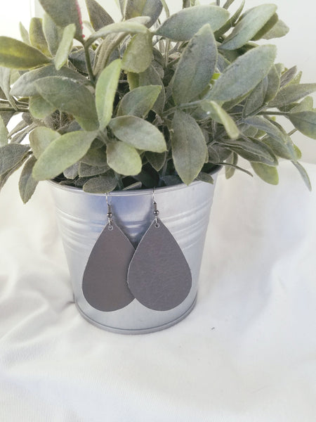 "Granite / Leather Teardrop Earrings / Medium / 2.25 x 1.5"" / FREE SHIPPING"