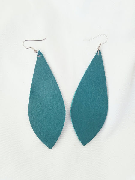 "Jaded Teal / Leather Pendant Earrings / Large / 3.5 x 1.25"" / FREE SHIPPING"