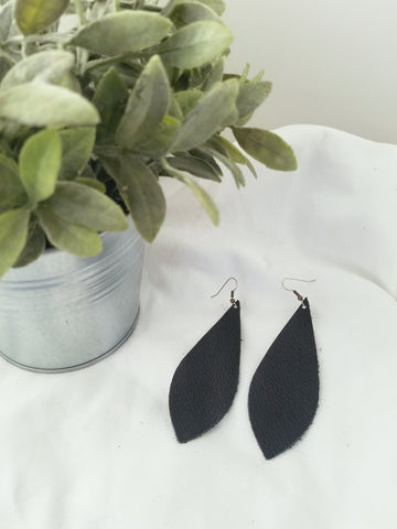 Black / Leather Earrings / Pendant Style / Large / FREE SHIPPING