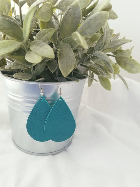 "Jaded Teal / Leather Teardrop Earrings / Medium / 2.25 x 1.5"" / FREE SHIPPING"