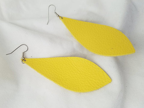 "Daffodil / Leather Pendant Earrings / Large / 3.5 x 1.25"" / FREE SHIPPING"
