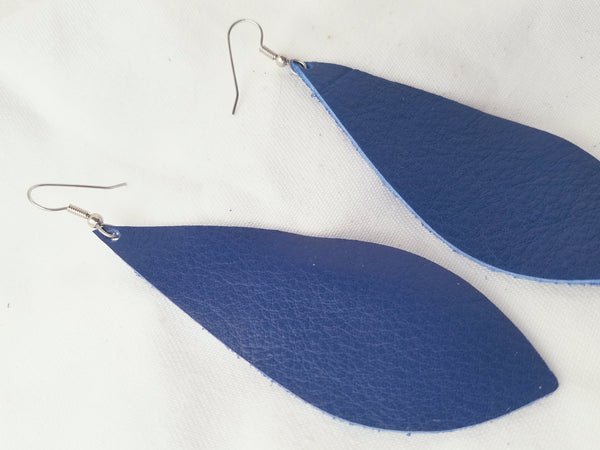 "Cobalt Blue / Leather Pendant Earrings / Large / 3.5 x 1.25"" / FREE SHIPPING"