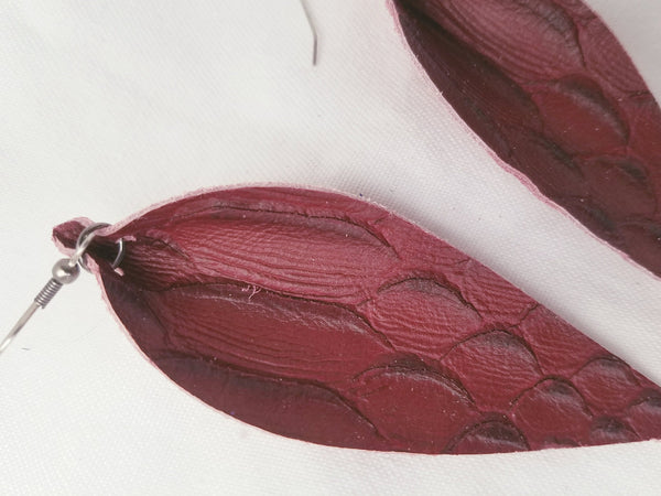 "Deep Red Serpent / Leather Leaf Earrings / Large / 3.5 x 1.25"" / Hypoallergenic"