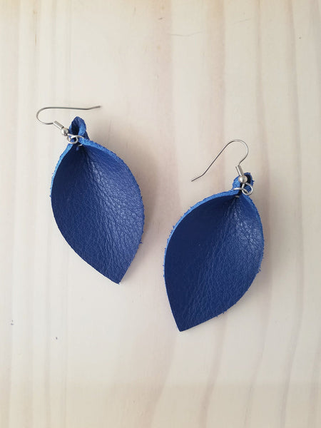 "Cobalt Blue / Leather Leaf Earrings / Medium / 2.5 x 1.25"" / FREE SHIPPING"