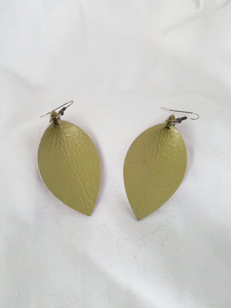 "Green Tea / Leather Leaf Earrings / Medium / 2.5 x 1.25"" / FREE SHIPPING"