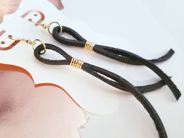 Black / Leather Earrings / String Style / FREE SHIPPING