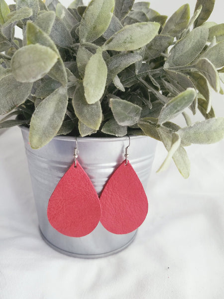 Cherry Tomato / Leather Earrings / Teardrop Style / Medium / FREE SHIPPING
