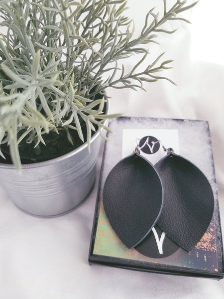 Black / Leather Earrings / Leaf Style / XL / FREE SHIPPING